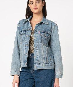 Jacheta din denim cu buzunare pe piept 2541068