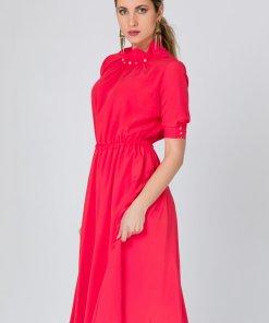 Rochie LaDonna rosie cu perlute la guler