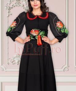 Rochie Venezia neagra in clos cu broderie traditionala