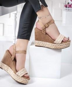 Sandale cu platforma dama bej Mirean