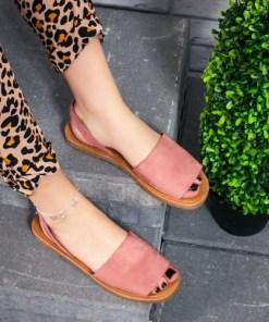 Sandale cu talpa joasa dama roz Plisia