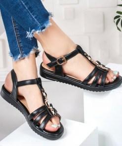 Sandale dama cu talpa joasa negre Galivia