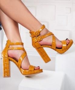 Sandale dama cu toc galbene Alvisa