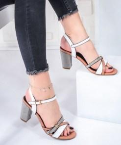 Sandale dama cu toc roz cu alb si gri Hyara