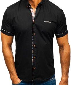 Camasa eleganta cu maneca scurta negru Bolf 5509-1