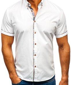 Camasa eleganta pentru barbat cu maneca scurta alba Bolf 5509-1