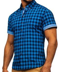 Camasa pentru barbat in carouri cu maneca scurta albastra Bolf 4508