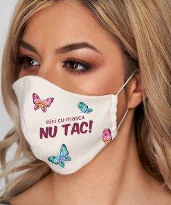 Masca de protectie pentru femei StarShinerS alba din stofa subtire cu imprimeu custom made