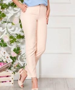 Pantaloni SunShine roz prafuit office din stofa cu un croi drept si buzunare