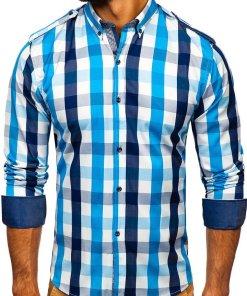 Camasa in carouri cu maneca lunga albastru Bolf 2779