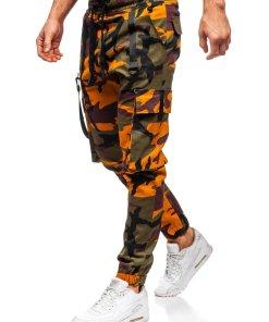 Pantaloni trening verde-portocaliu barbati Bolf 11105