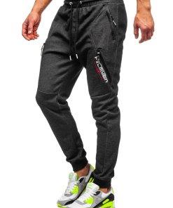 Pantaloni de trening negru-alb barbati Bolf Q1041