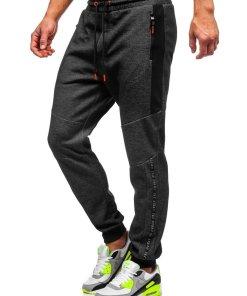 Pantaloni de trening negru-portocaliu barbati Bolf Q1040