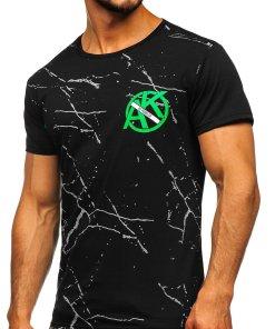 Tricou cu imprimeu negru barbati Bolf KS1973