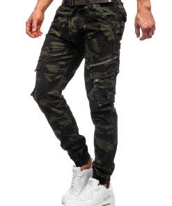 Pantaloni cargo verde-inchis cu curea barbati Bolf CT67015