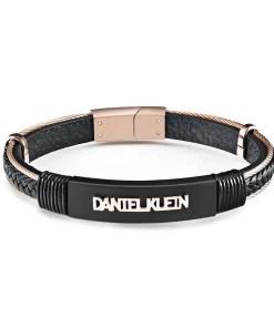 Bratara neagra, Daniel Klein, pentru barbati, din piele, DKB.6.2071.03