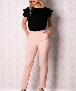 Pantalon Moze drept roz cu funda stilizata la talie