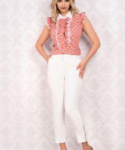 Pantaloni MBG drepti albi cu fermoare