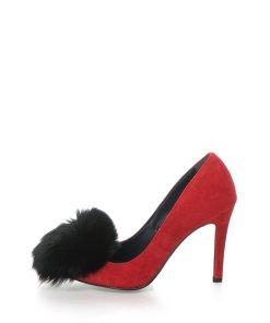Pantofi stiletto de piele intoarsa cu varf ascutit si aplicatie de blana Anne 510258