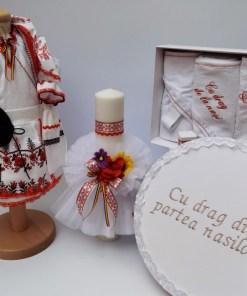 Set Traditional Botez - Costumas fetita Trusou Cutie pentru trusou Lumanare