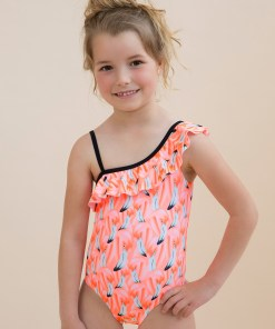 Costum de baie intreg Flamingo, pentru fetite