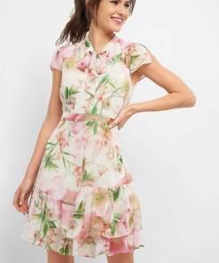 Rochie cu imprimeu floral Bej