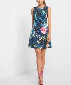 Rochie trapez cu flori Albastru