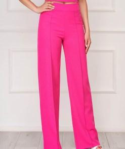 Pantaloni StarShinerS fuchsia eleganti lungi evazati din stofa elastica