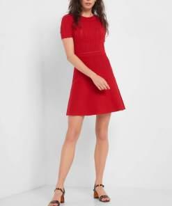 Rochie de tricot Roșu și roz