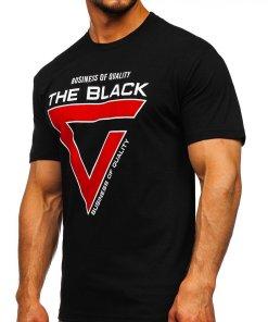 Tricou negru cu imprimeu Bolf 10821