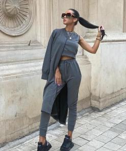 Compleu dama ieftin gri inchis compus din pantaloni lungi + maieu + cardigan lung