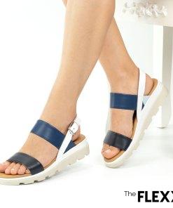 Sandale dama The Flexx din piele naturala Mod navy denim alb