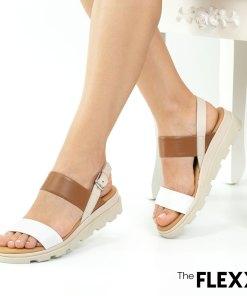 Sandale dama The Flexx din piele naturala Mod alb cognac bej