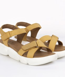 Sandale dama din piele naturala Serena galben inchis