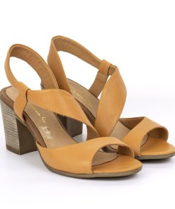 Sandale dama din piele naturala Vega High galben mango