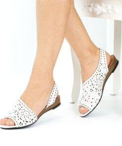 Sandale dama din piele naturala Girona alb