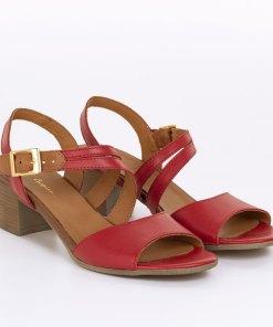 Sandale dama din piele naturala Lucinda rosu