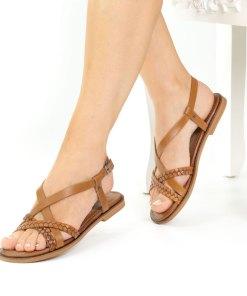 Sandale dama din piele naturala Sevilla coniac
