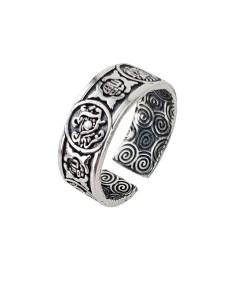 Inel reglabil din argint cu simboluri feng shui