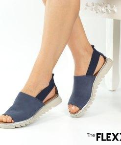 Sandale dama The Flexx din piele naturala Wat is Wav albastru