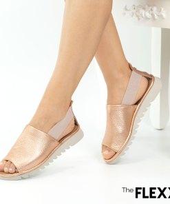 Sandale dama The Flexx din piele naturala Wat is Wav rose gold