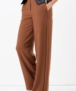Pantaloni cu croiala ampla si talie inalta 2397606