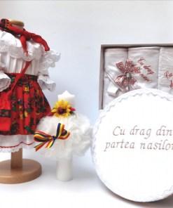 Set Traditional Botez - Costumas fetita Trusou Cutie pentru trusou Lumanare 3