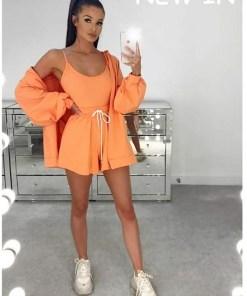Compleu dama 3 piese din bumbac portocaliu compus din pantaloni scurti + maieu + hanorac