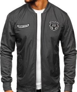 Bluza cu imprimeu bărbați gri Bolf 3803
