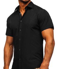 Cămașă neagră mâneca scurtă bărbați Bolf 17501