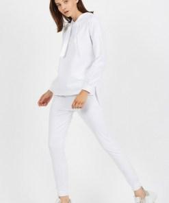 Trening dama casual alb din bumbac cu hanorac cu gluga fashion si panglica satin