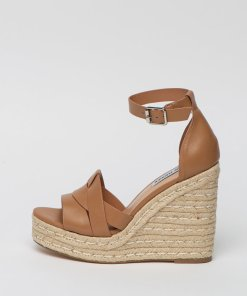 Sandale wedge de piele tip espadrile Camel 2647262