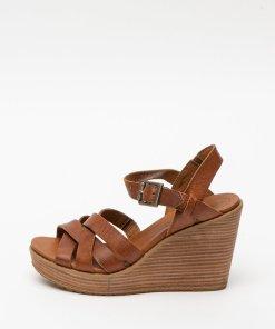 Sandale din piele cu talpa wedge si barete incrucisate Danforth 2752379