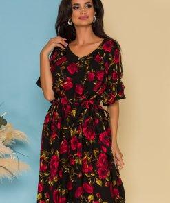 Rochie Erin neagra cu imprimeu floral rosu
